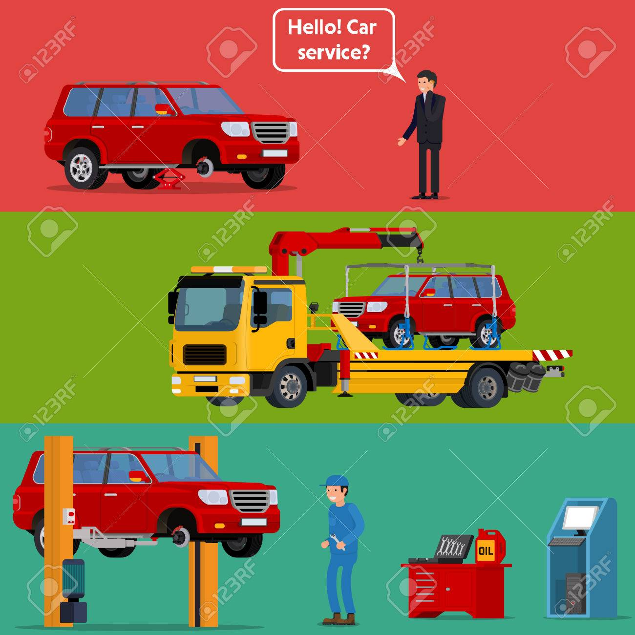Cool vector trendy flat design worried driver calling roadside assistance to help with his breakdown car. Tow truck transporting a broken machine to the car service. Broken car in auto repair shop being fixed on car lift with mechanic professional holding - 64756594