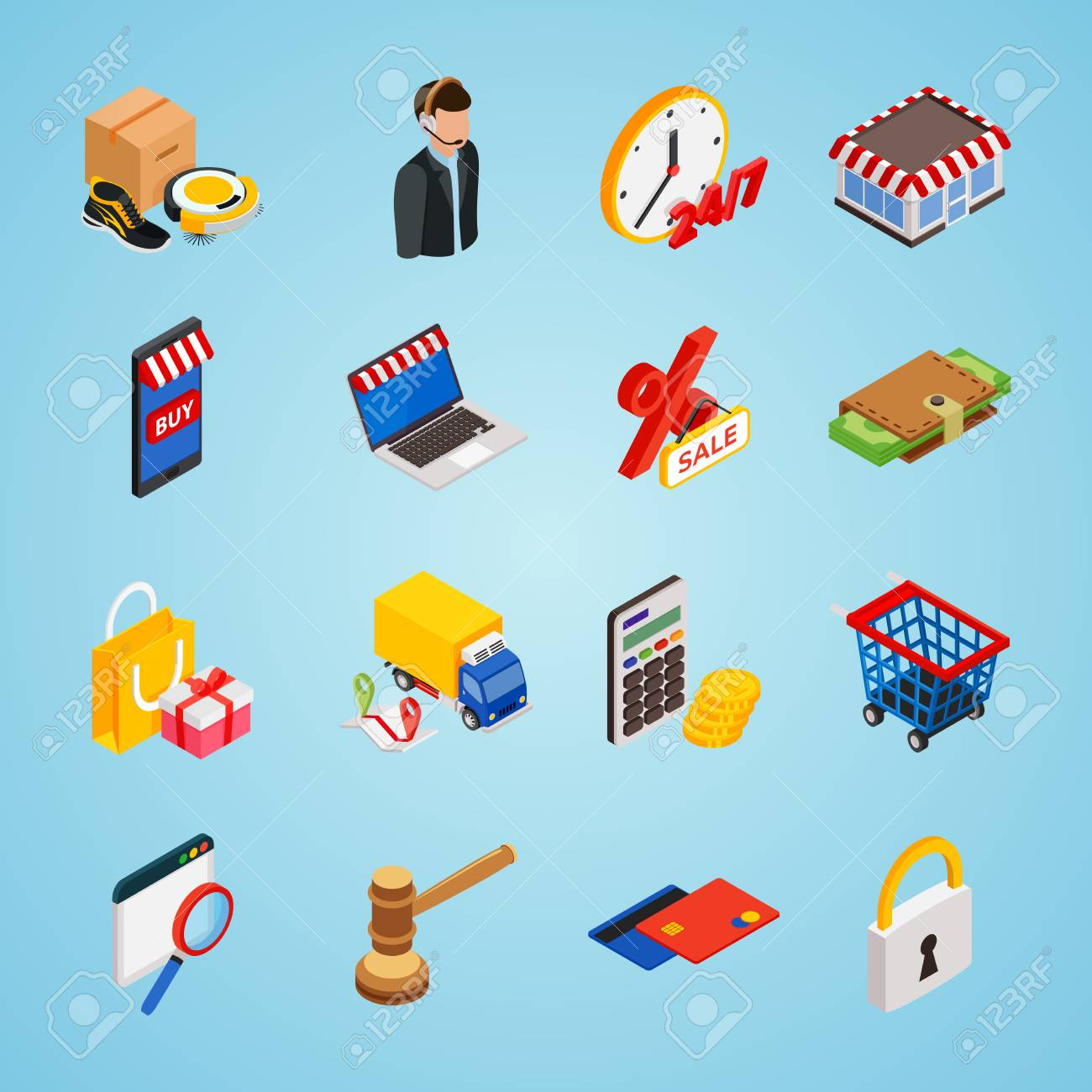 Electronic Commerce Isometric Icon Set With Gadgets For Buying