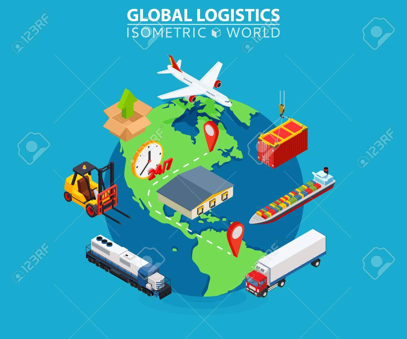Global logistics cargo flat isometric pixel art modern design concept vector illustration. - 88400665