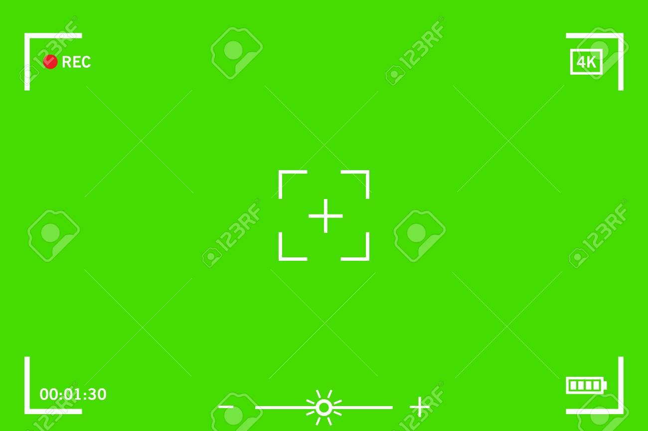 Chromakey modern digital video camera focusing screen isolated on green background - 92155882