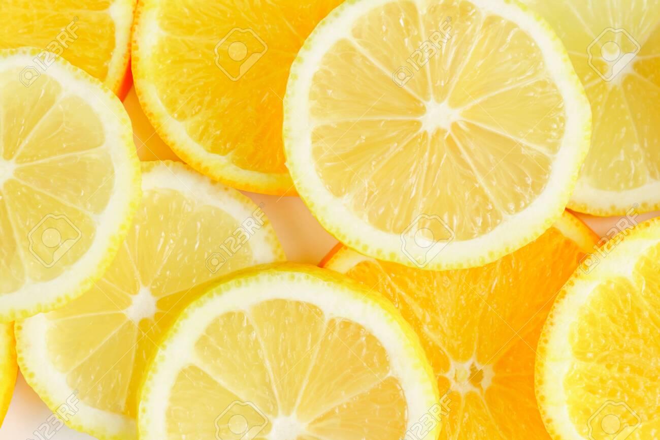 citrus slice, oranges and lemons on white background, - 152166915