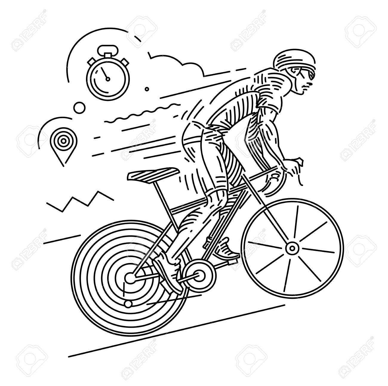 Cycle Race Dynamic Pose Vector Illustration On The Linear Outline Royalty Free Cliparts Vectors And Stock Illustration Image 124114400