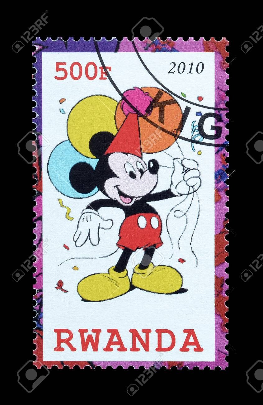 Cancelled Postage Stamp Printed By Rwanda That Shows Mickey Mouse Circa 2010 Stock