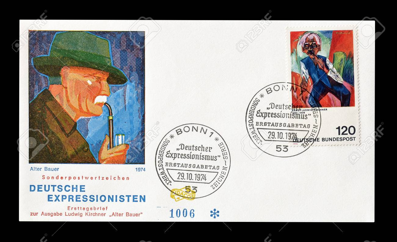 Cancelled First Day Cover letter printed by Germany, that shows..