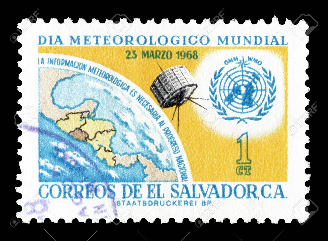 Cancelled postage stamp printed by El Salvador, that shows UN.. on new zealand satellite, venezuela satellite, vietnam satellite, spain satellite, argentina satellite, barbados satellite, honduras satellite, india satellite, georgia satellite, brazil satellite, cuba satellite, puerto rico satellite, fertile crescent satellite, israel satellite, madagascar satellite, italy satellite, north korea south korea satellite, japan satellite, yucatán peninsula satellite, latin america satellite,