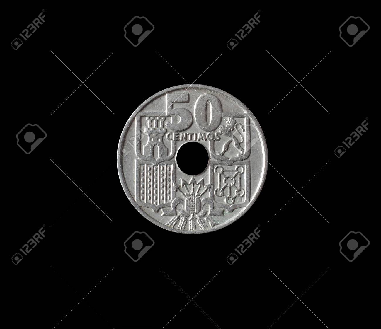 Reverse Of 10 Centimos Coin Made By Spain In 1963 Stock Photo
