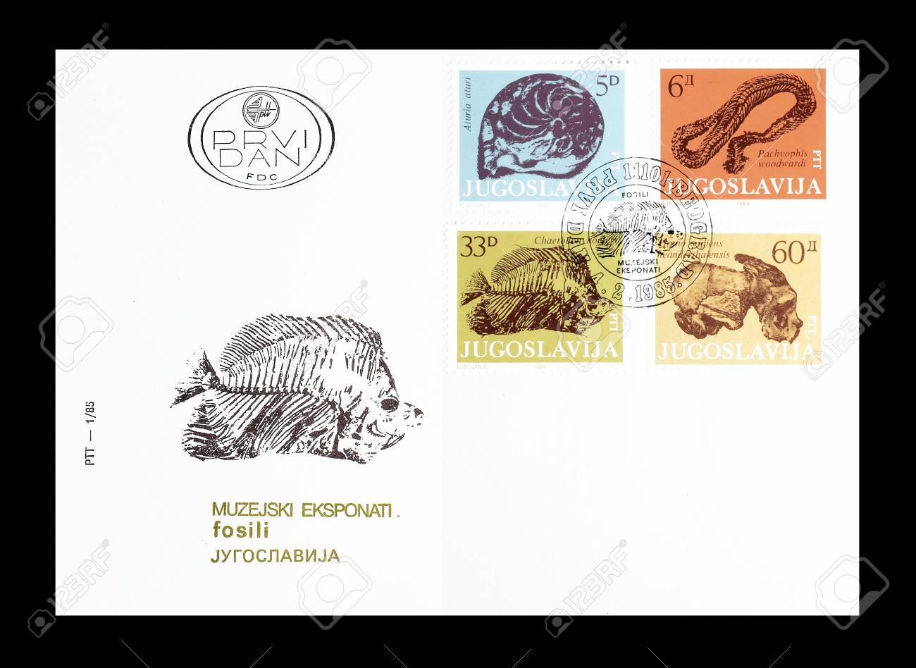 First Day Cover letter with cancelled postage stamps printed..