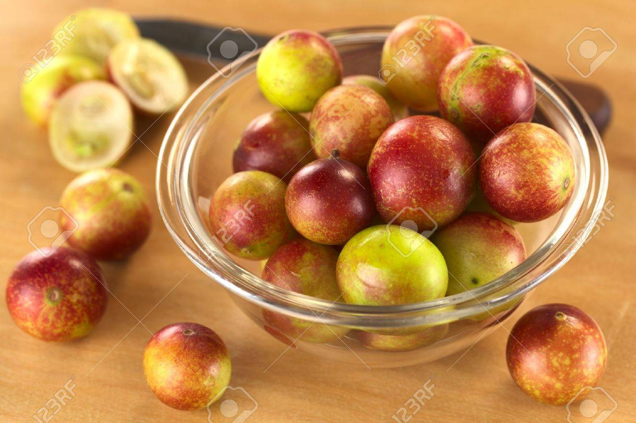 Camu camu berry fruits (lat. Myrciaria dubia) which are grown in the Amazon region and have a very high Vitamin C content (Selective Focus, Focus on the berries in the middle of the bowl) Stock Photo - 11398089