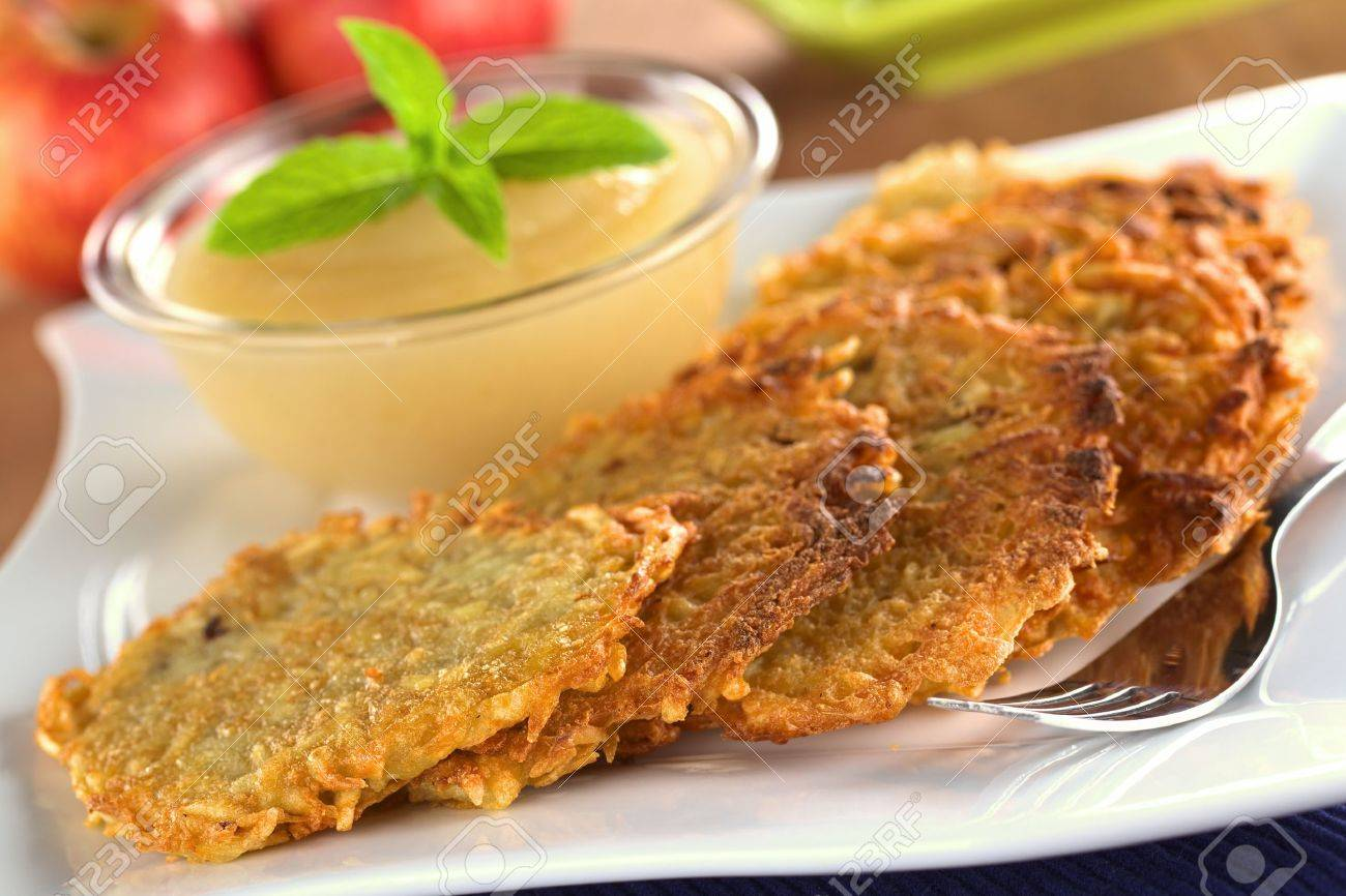 Potato fritters with apple sauce - 12325268