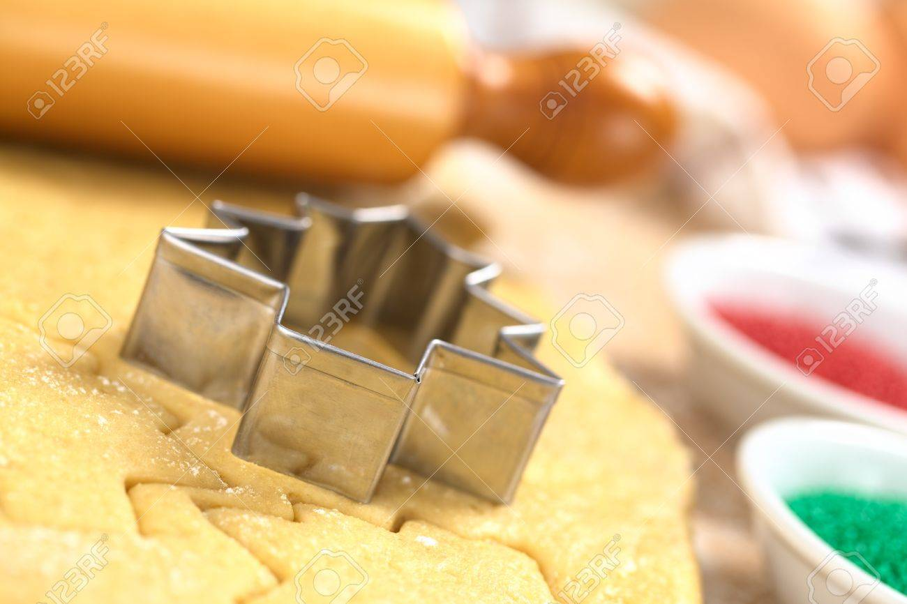 Baking Christmas Cookies: Cookie Cutter On Rolled Out Sugar Or ...