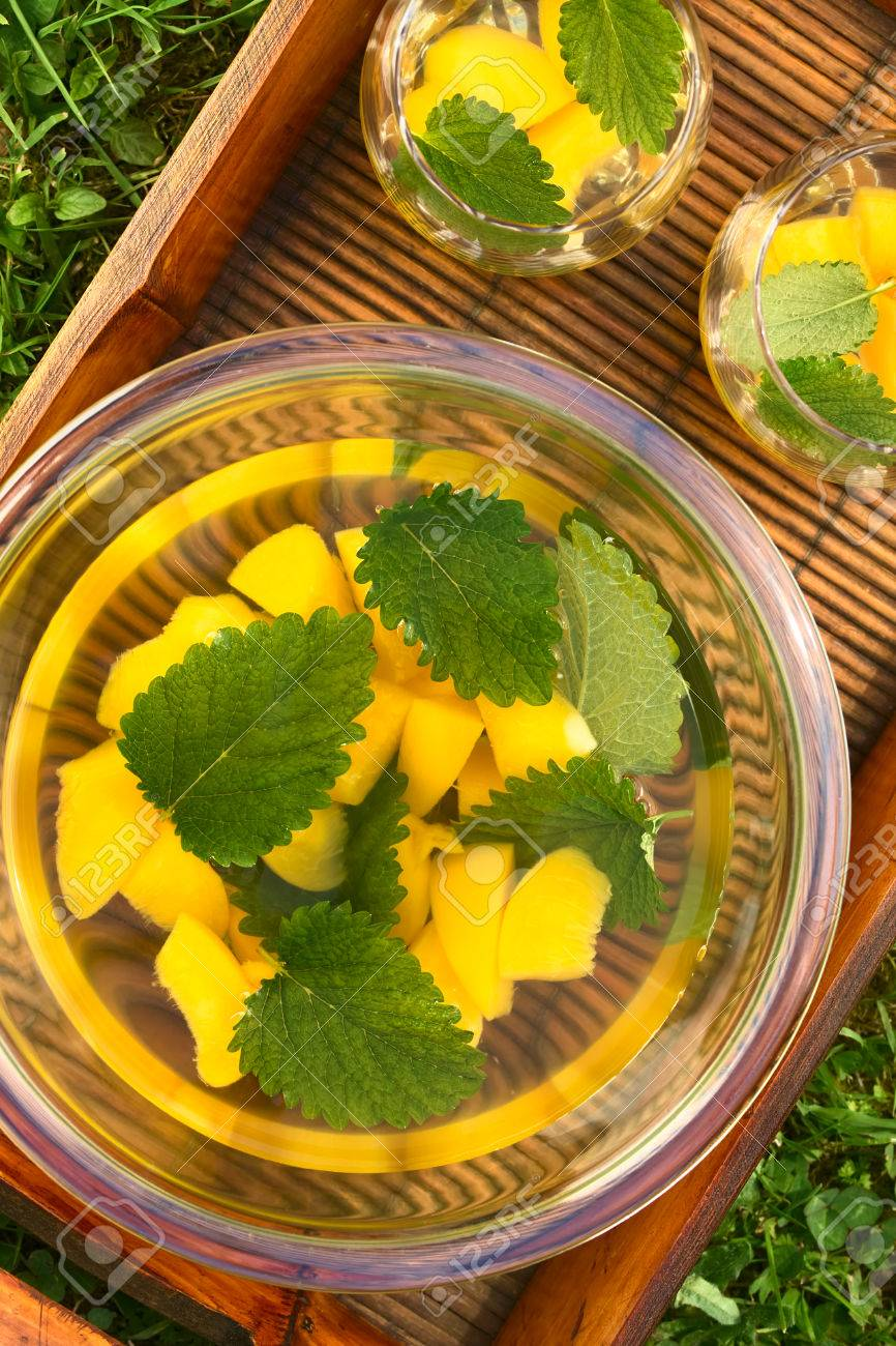 Refreshing Peach Lemon Balm And White Wine Punch Or Wine Cooler
