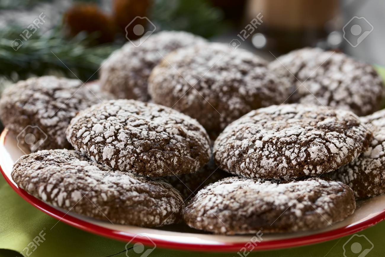 Chocolate Crinkle Cookies Traditional American Christmas Cookies