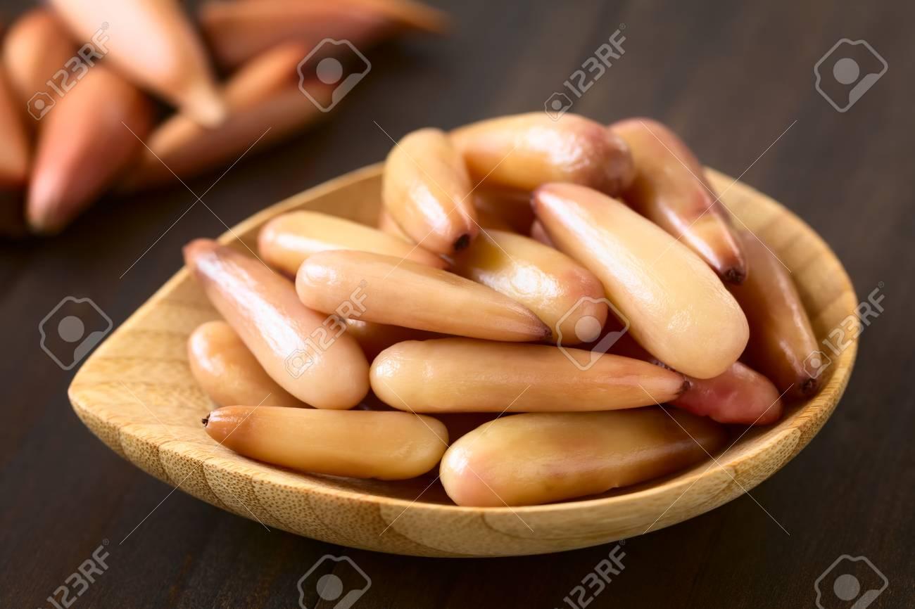 Geschälte Gekochte Chilenische Pinones Pinienkerne Des Chilenischen