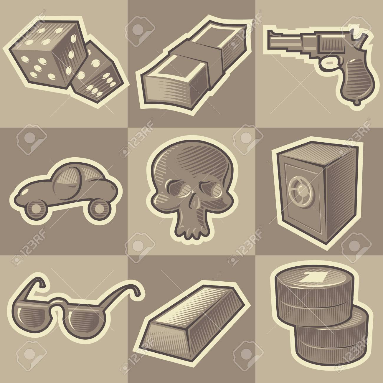 Set of monochrome gangsta retro icons. Hatched in style of engraving. Vector illustration. Stock Vector - 4499205
