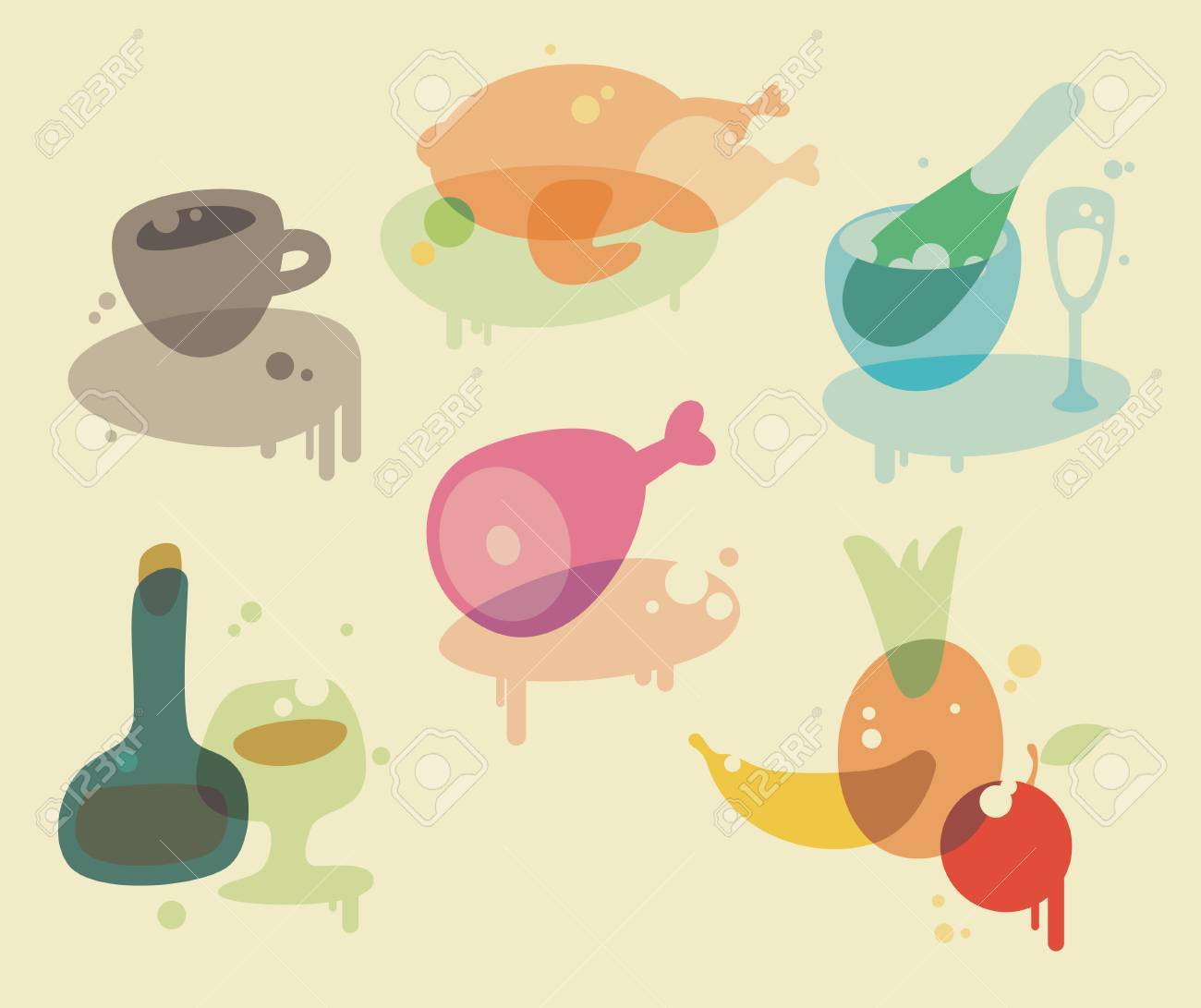 Watercolor food and drink icons, vector illustration. Stock Vector - 4915849