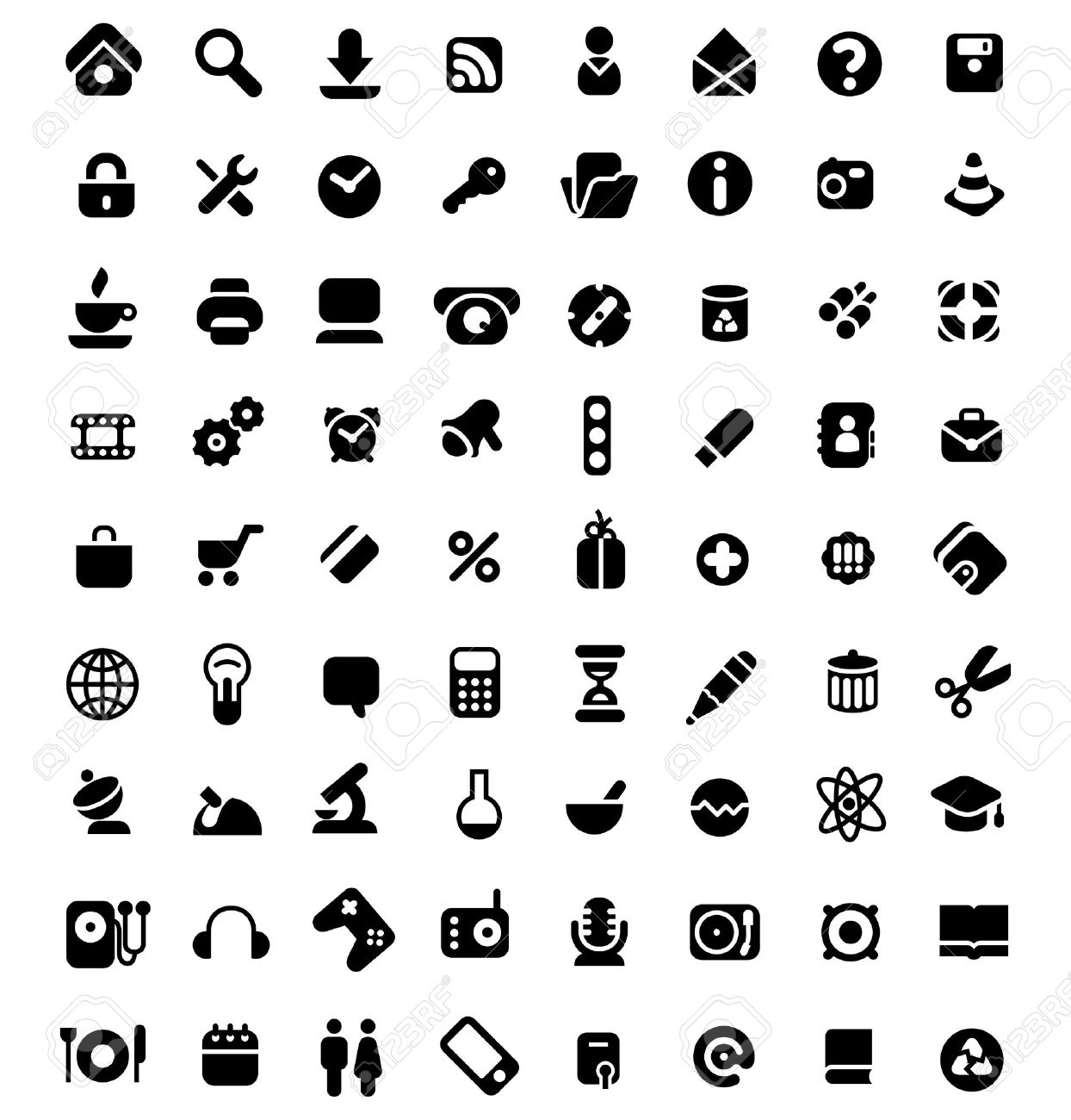 Set Of 72 Icons For Website, Computer, Business, Shopping, Science ...