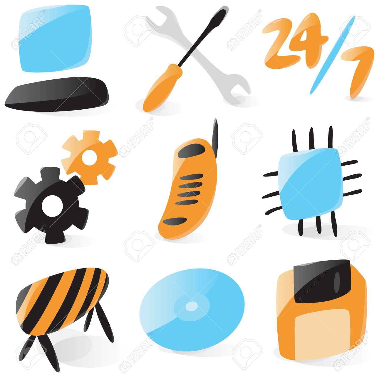 Set of smooth and glossy icons for computer services. Vector illustration. Figures are not part of any existing font, all the figures were drawn by hand. Stock Vector - 5254986