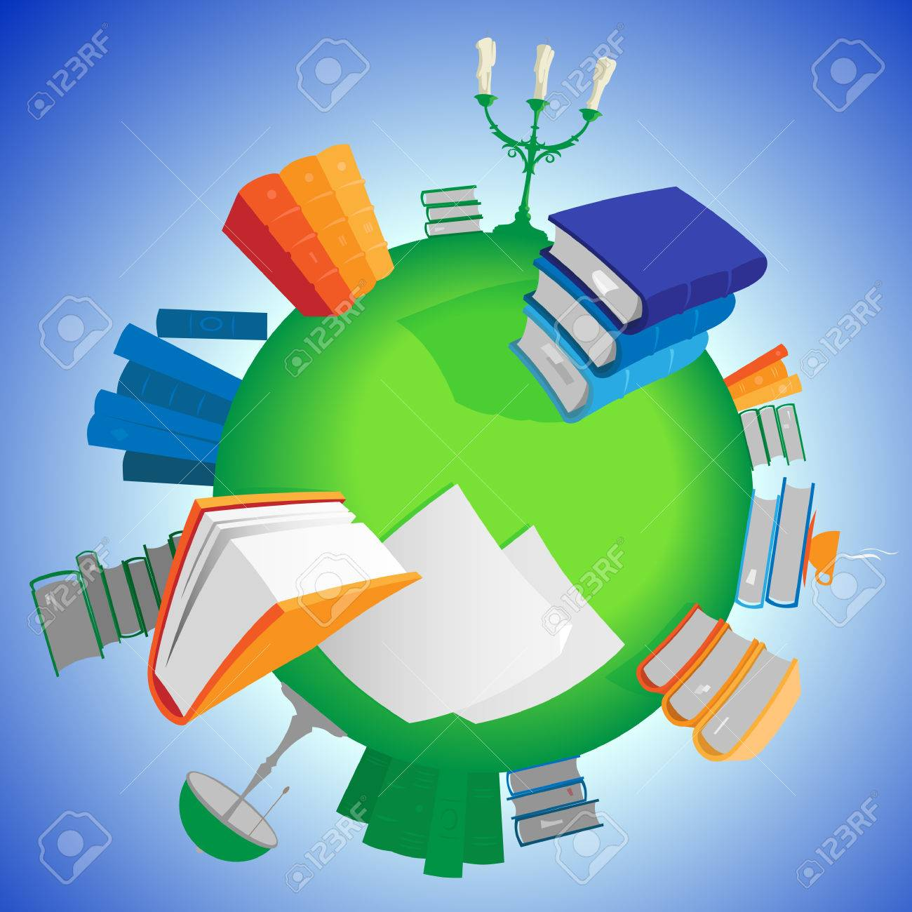 world of knowledge multicolored books on green planet vector illustration stock vector