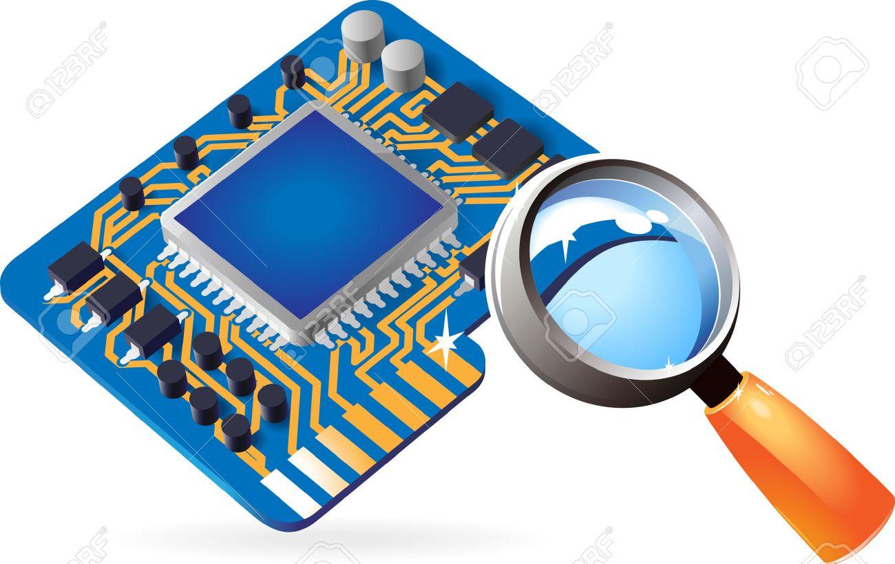 Blue computer chipset under magnifying glass. Vector illustration. Stock Vector - 5420080