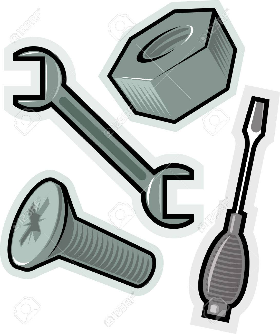 Objects For Screwing. Vector Illustration. Royalty Free Cliparts ...