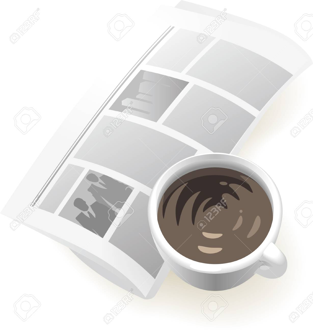 Newspaper and cup of coffee. Vector illustration. Stock Vector - 5433589