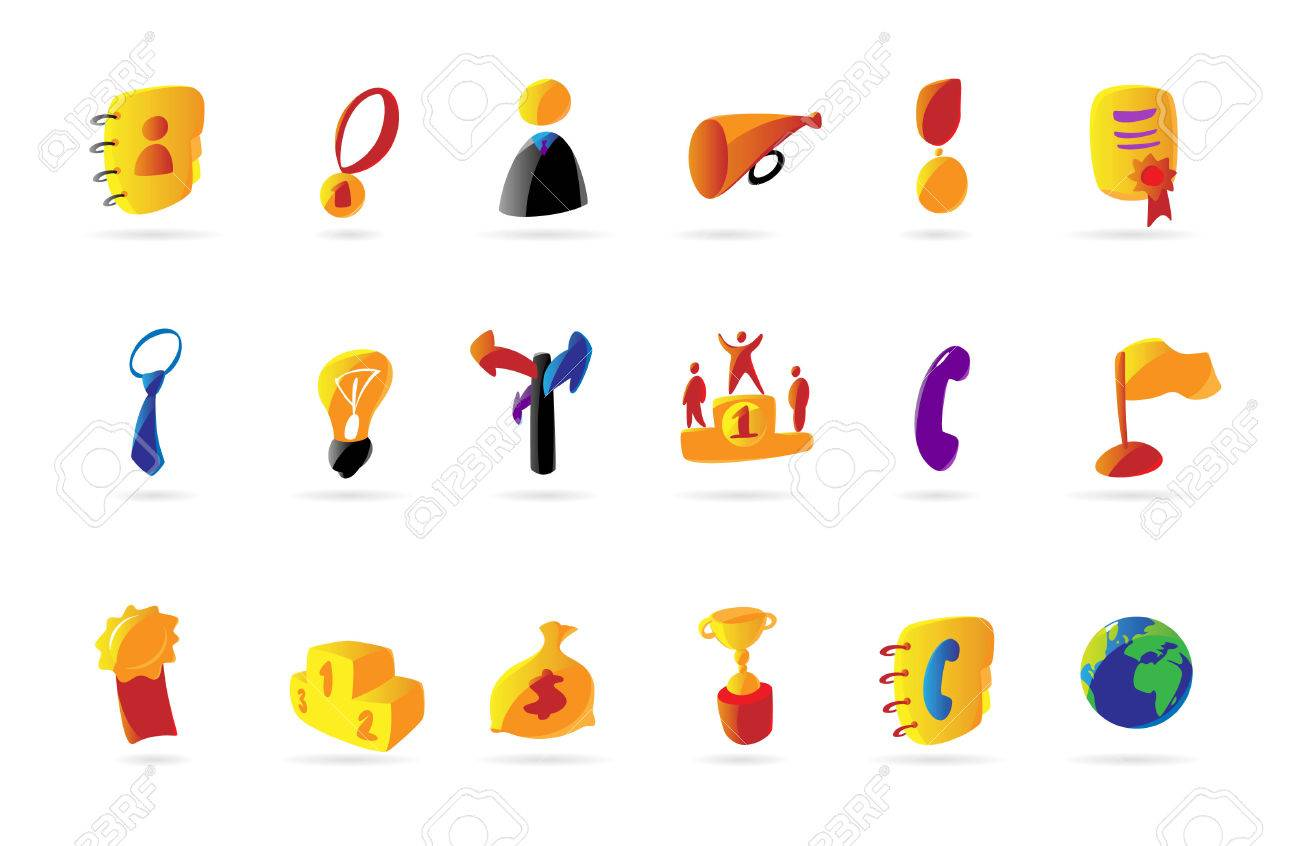 Colorful icons for successful business. Vector illustration. Stock Vector - 5464065