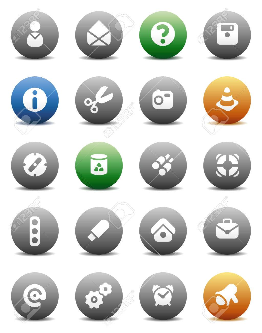 Miscellaneous buttons. Icons for websites and interface elements. Vector illustration. Stock Vector - 5464267