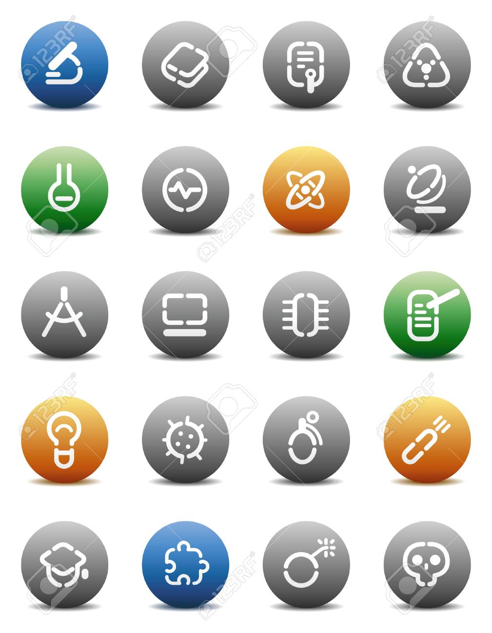 Buttons for science. Icons for websites and interface elements. Vector illustration. Stock Vector - 5464274