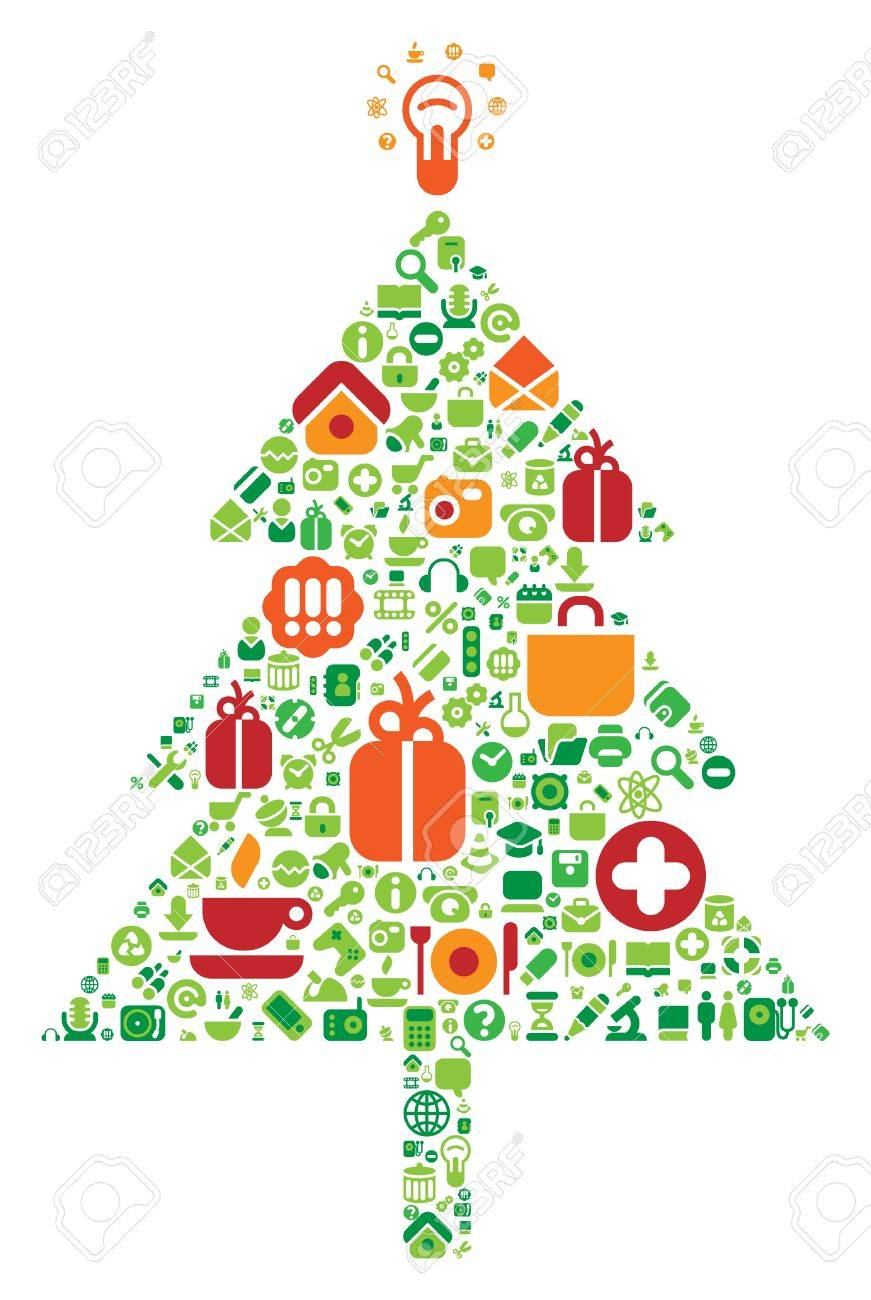 Christmas tree made of computer and internet icons. Vector illustration. Stock Vector - 5658057