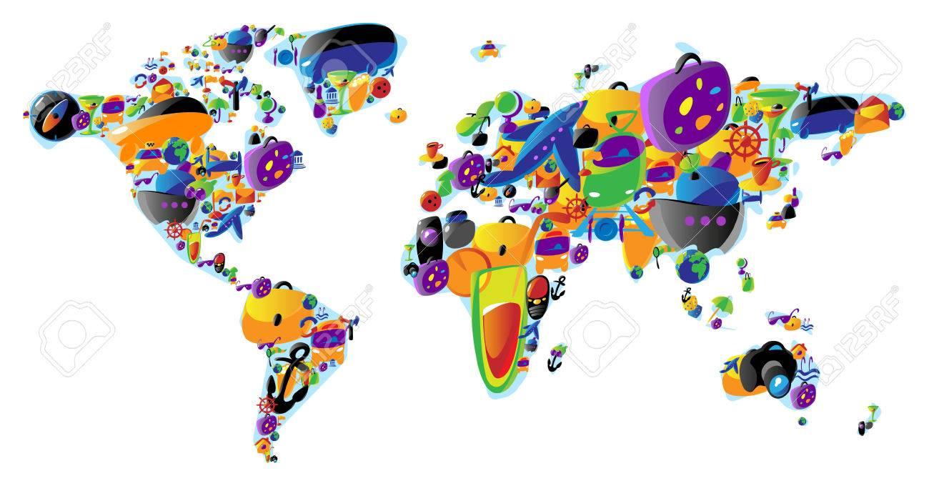 5658071-Une-carte-du-monde-faite-de-Voyage-et-loisirs-ic-nes-color-es-Vector-illustration-concept--Banque-d'images
