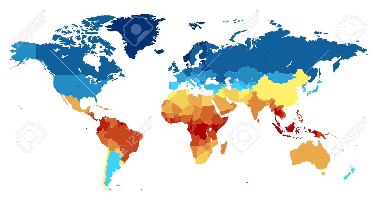 Ecuador Mapa Del Mundo.Mapa Del Mundo Completo Con Los Paises De Color En Varios Colores De Rojo En El Ecuador A Los Polos Profundo Azul Cerca Ilustracion Del Vector Ilustraciones Vectoriales Clip Art Vectorizado Libre
