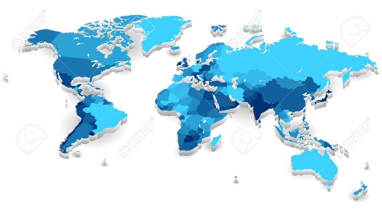 World Map With Countries In Cool Colors Vector Illustration - World map with