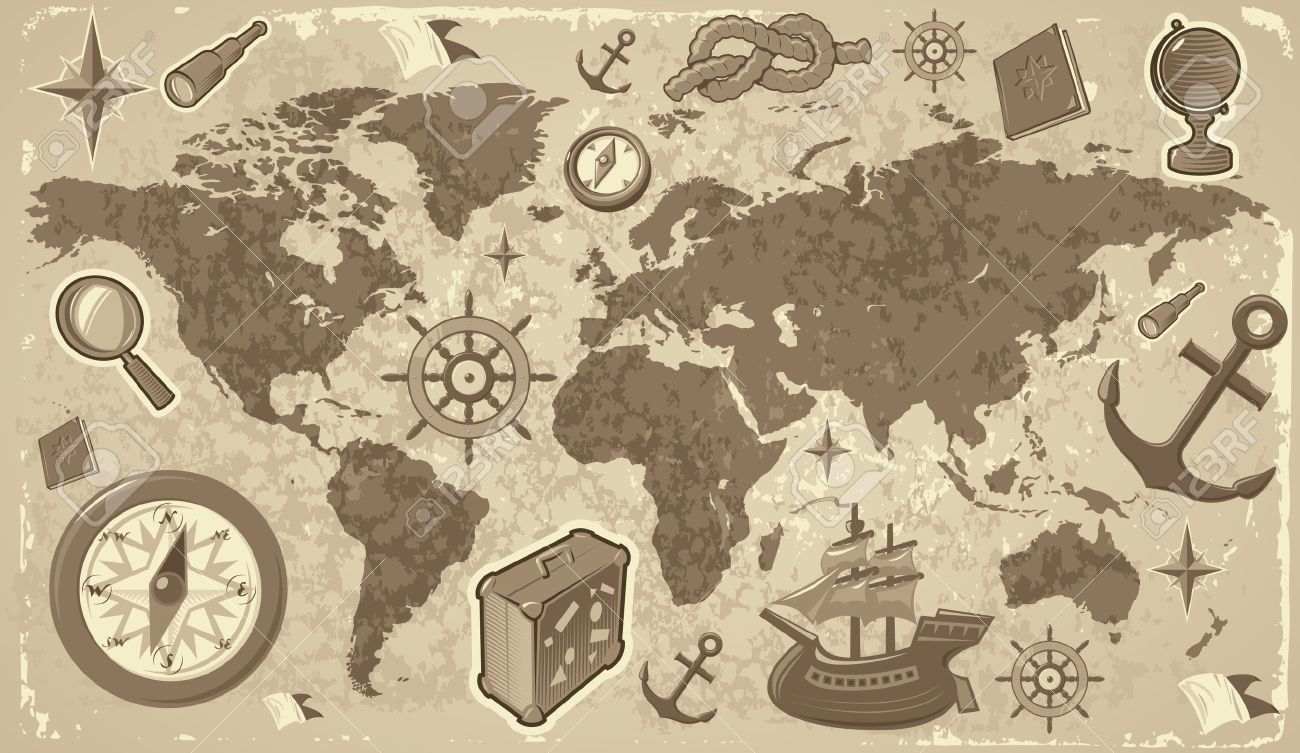 Retro styled world map with travel and nautical icons vector retro styled world map with travel and nautical icons vector illustration stock vector gumiabroncs Images