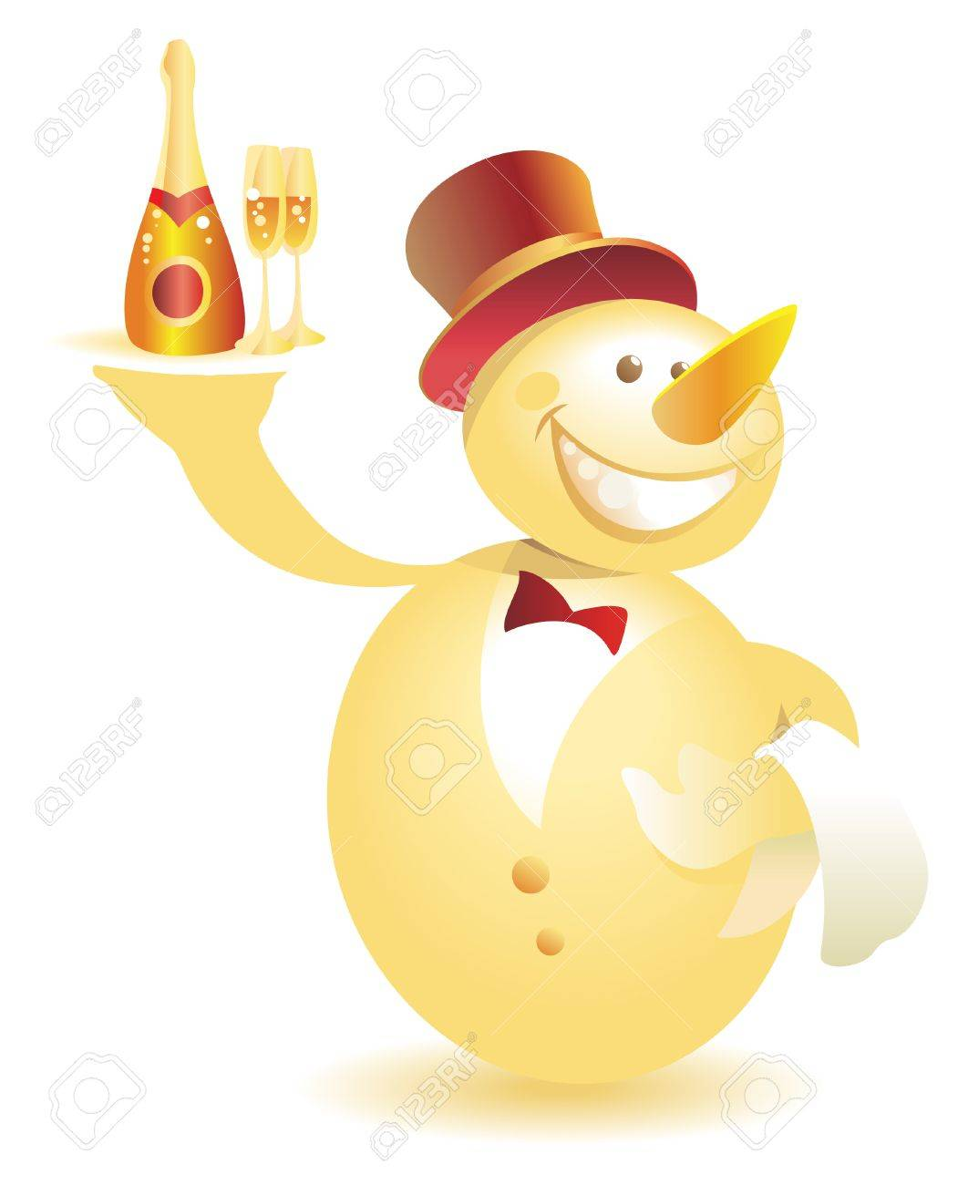Snowman-waiter with champagne. Vector illustration. Stock Vector - 5687224