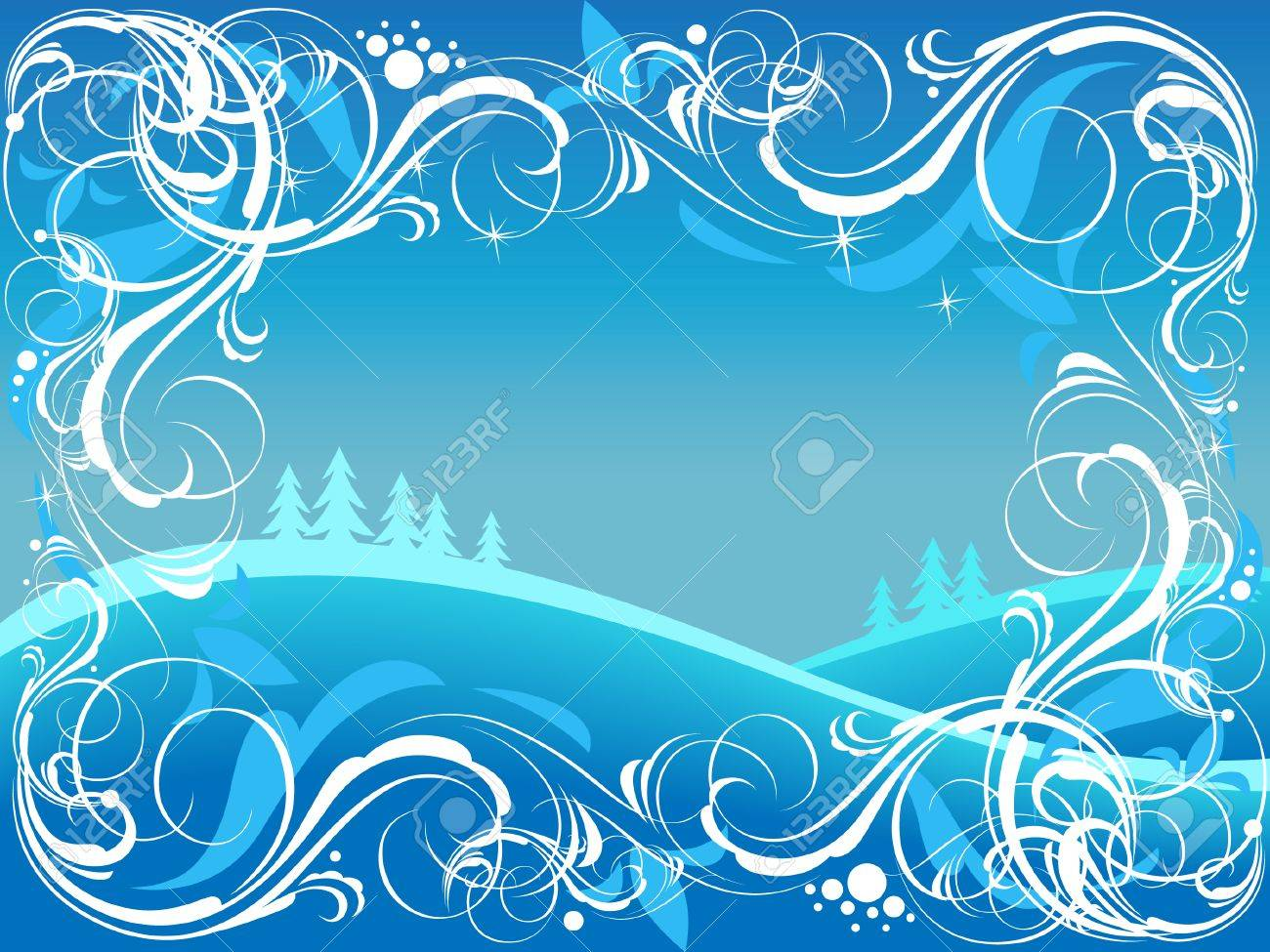 Background with ornate border and winter landscape. Stock Vector - 5707873