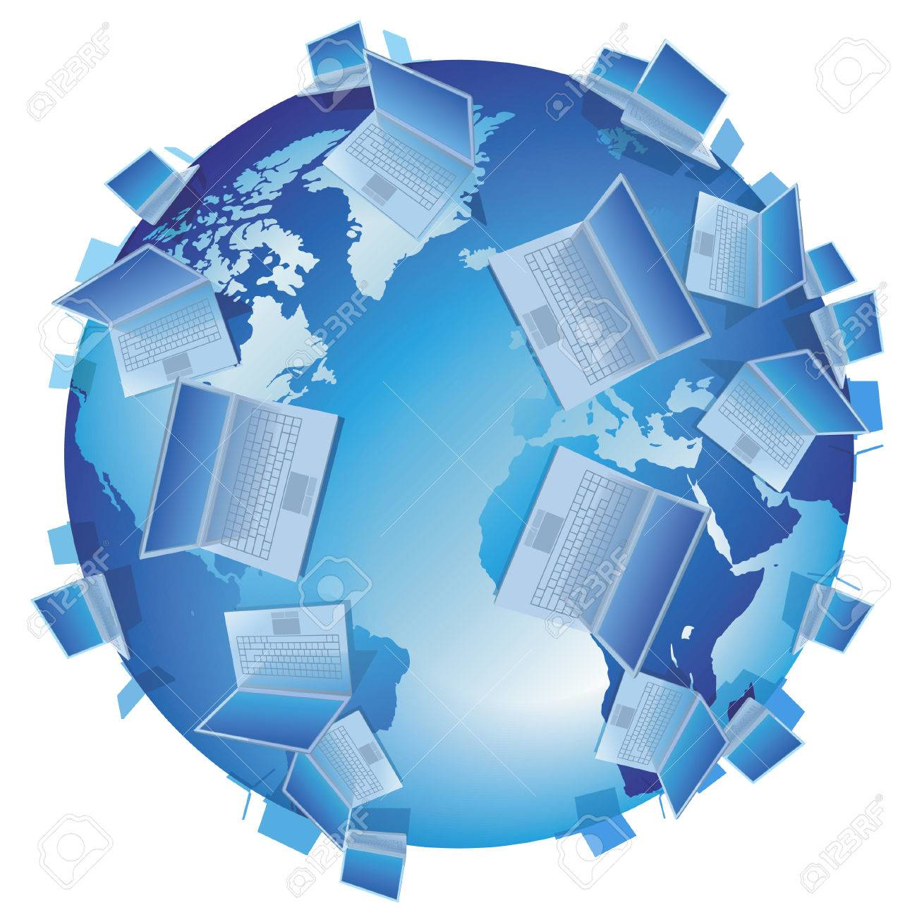Computer World concept: laptops on blue Earth. Vector illustration. Stock Vector - 5730021
