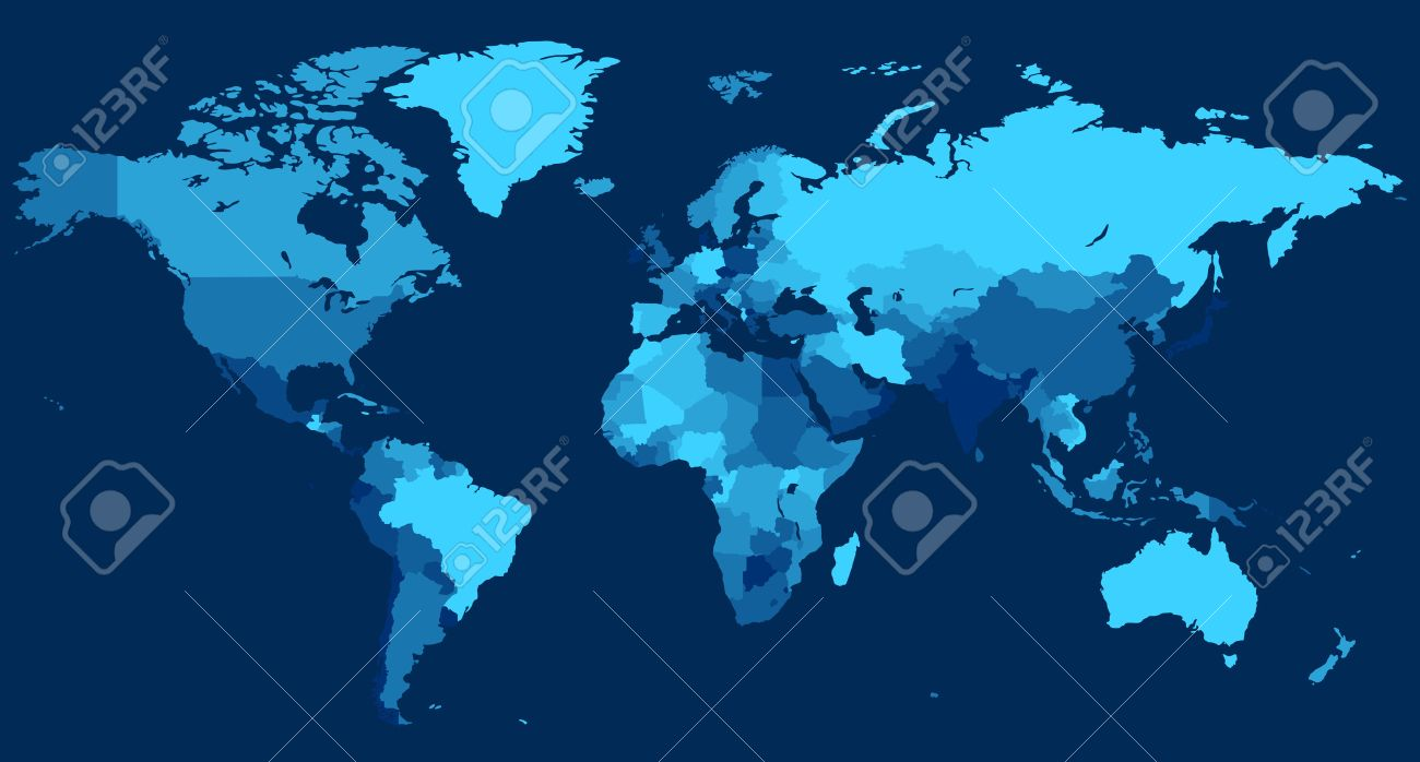 World map with countries on blue background. Vector illustration. Stock Vector - 5876655