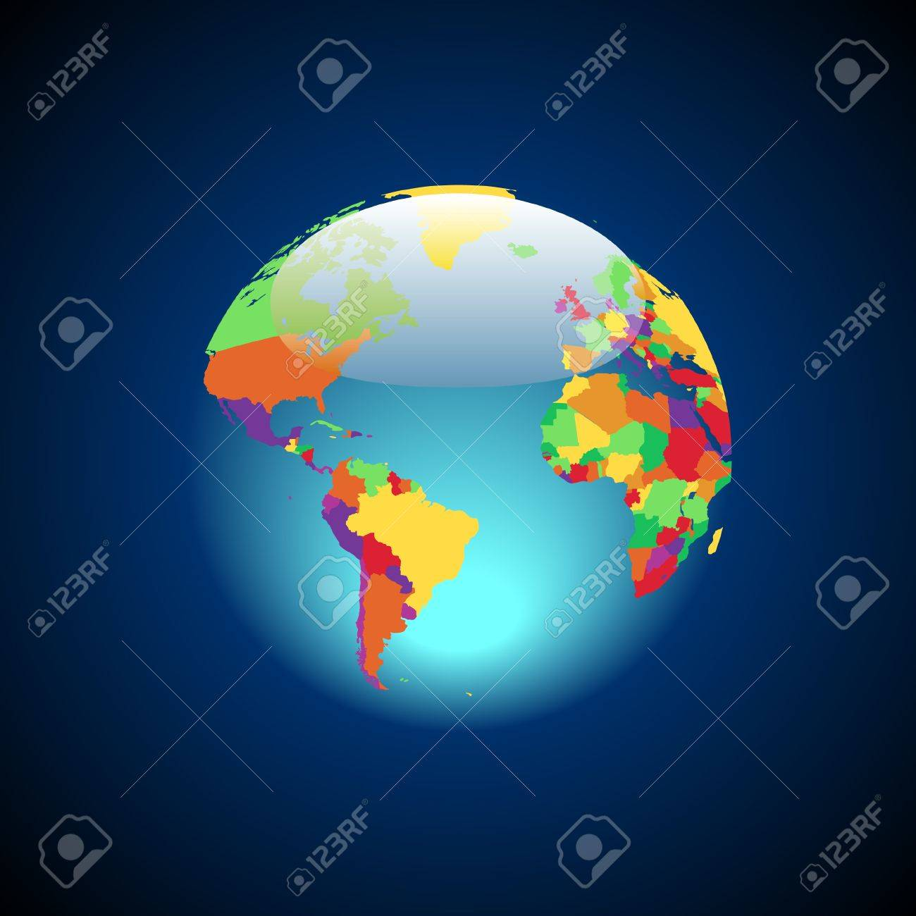 Globe with multicolored countries. Vector illustration. Stock Vector - 6676280