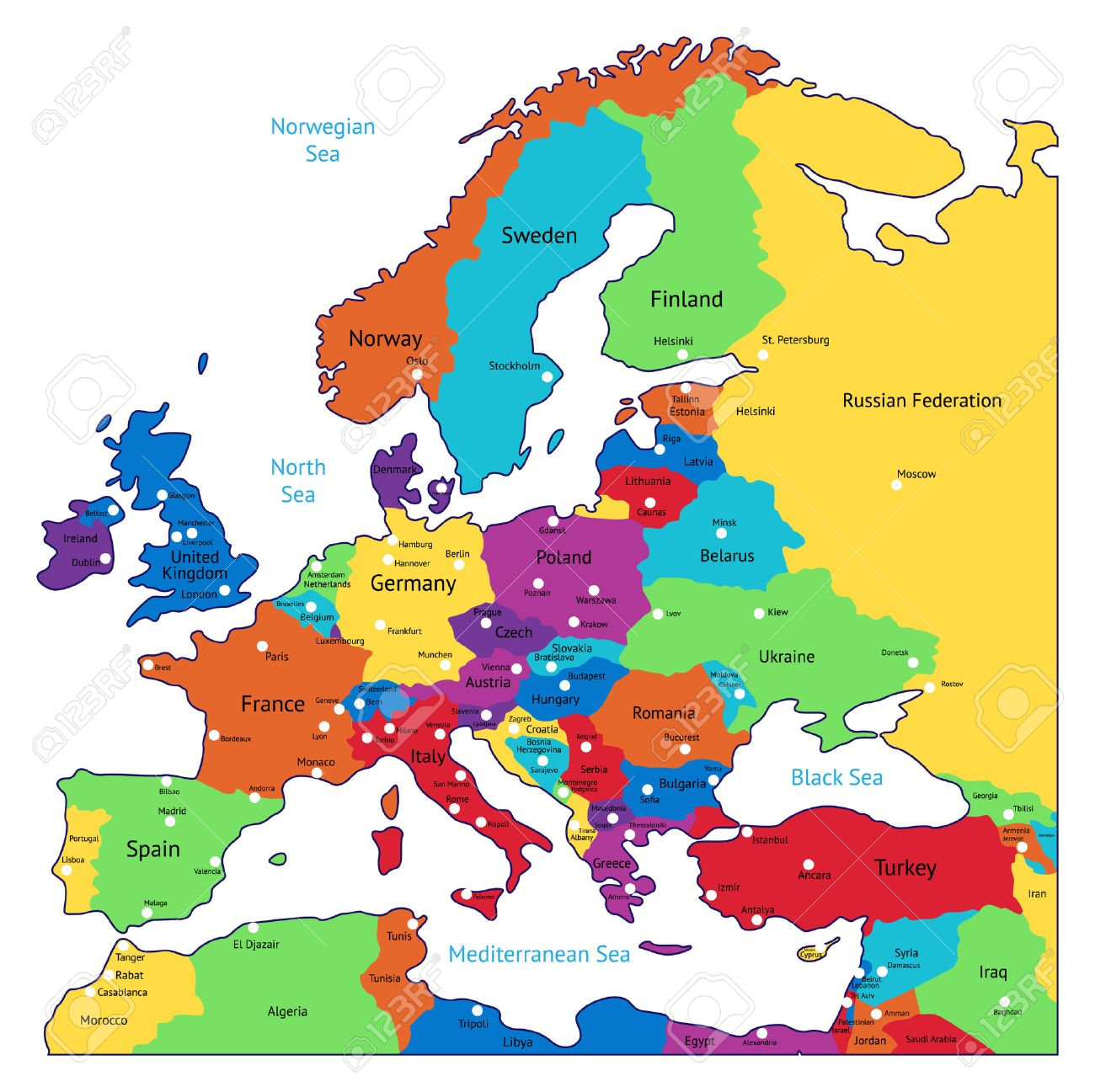 Multicolored Map Of Europe. Names, Town Marks And National Borders ...