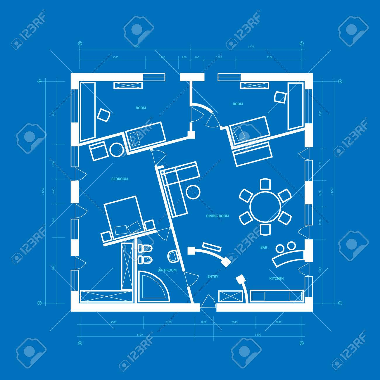 Abstract blueprint background in blue and white colors. Stock Vector - 6834090