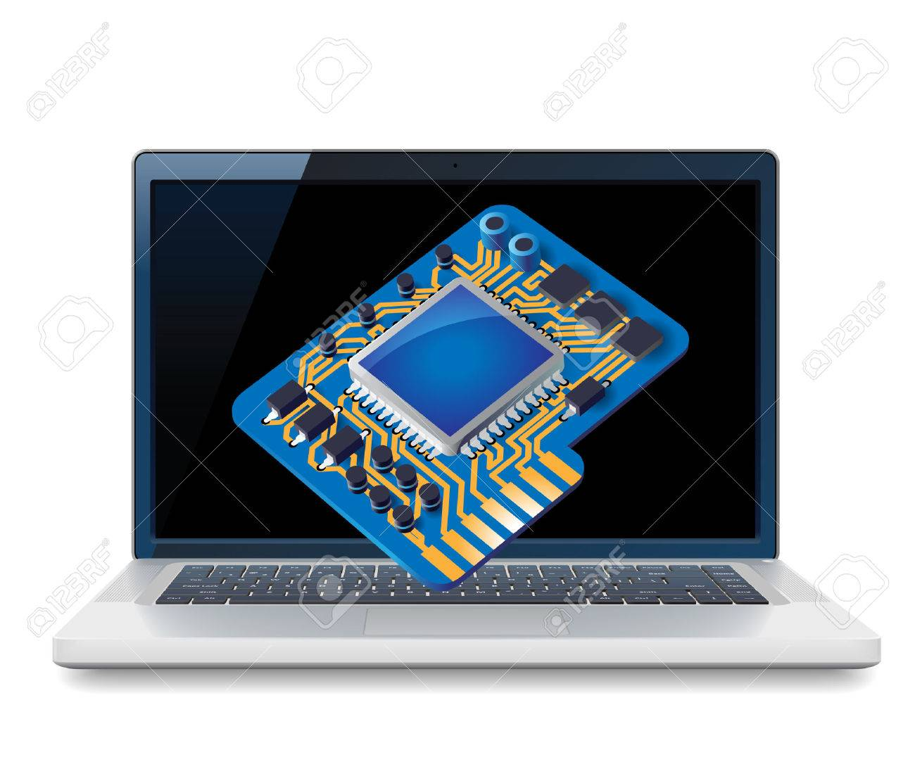 Laptop and circuit concept.  illustration for technical support, computer hardware store, repair service. Stock Vector - 7023399