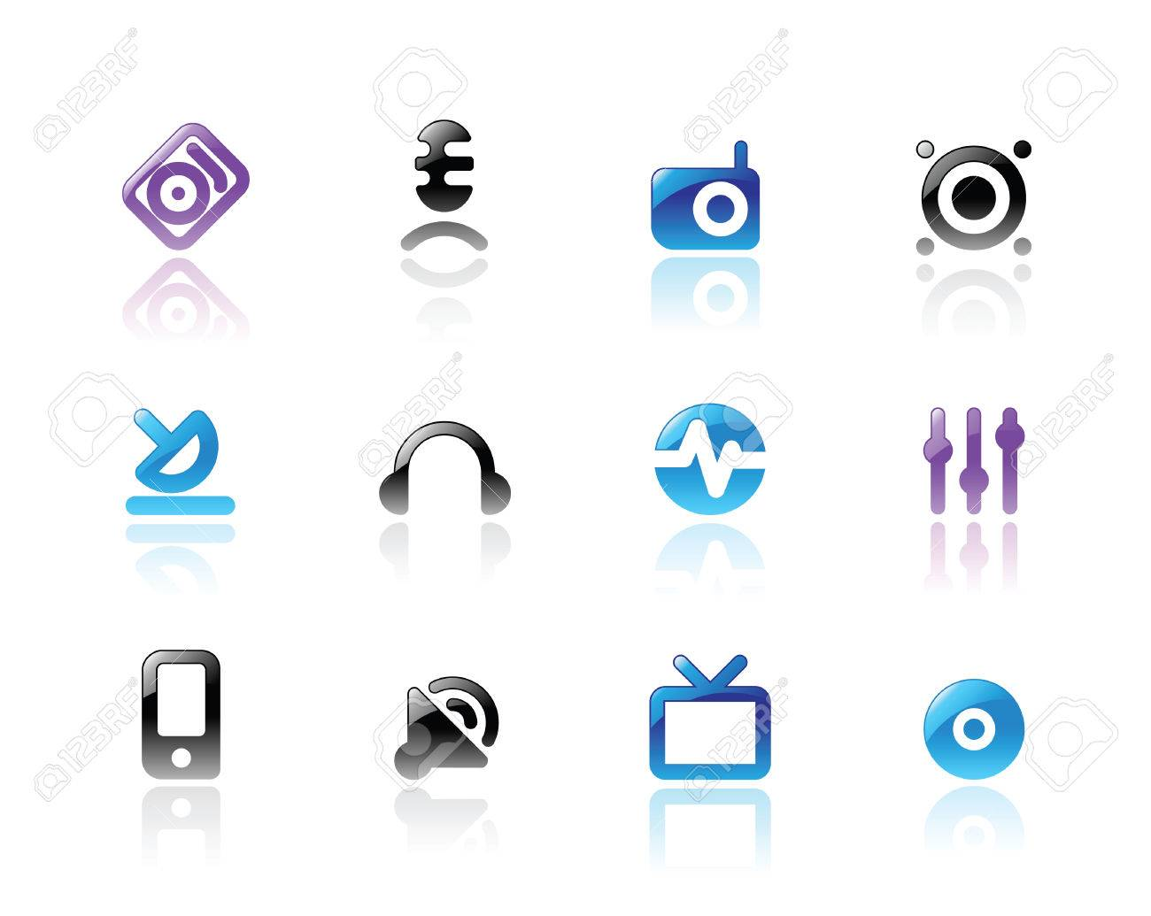 Perfect designer  icons for media and sound. Main shape, highlights and reflection are in separate layers. Stock Vector - 7023279