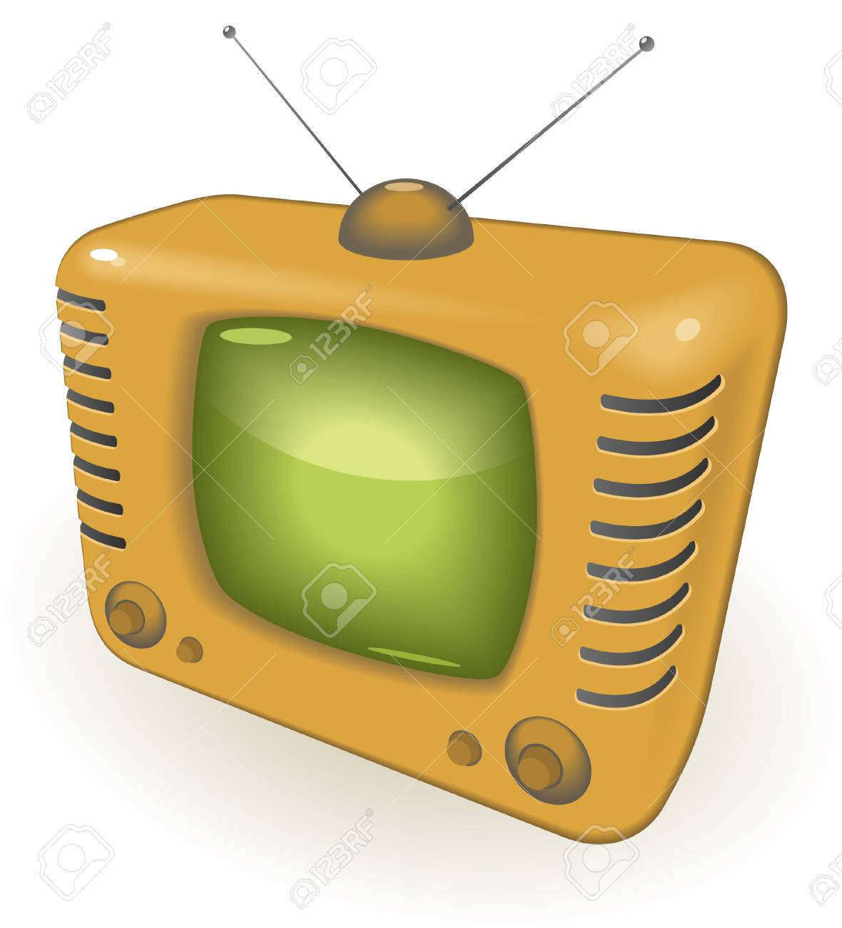 TV with antenna.  illustration. Stock Vector - 7055964