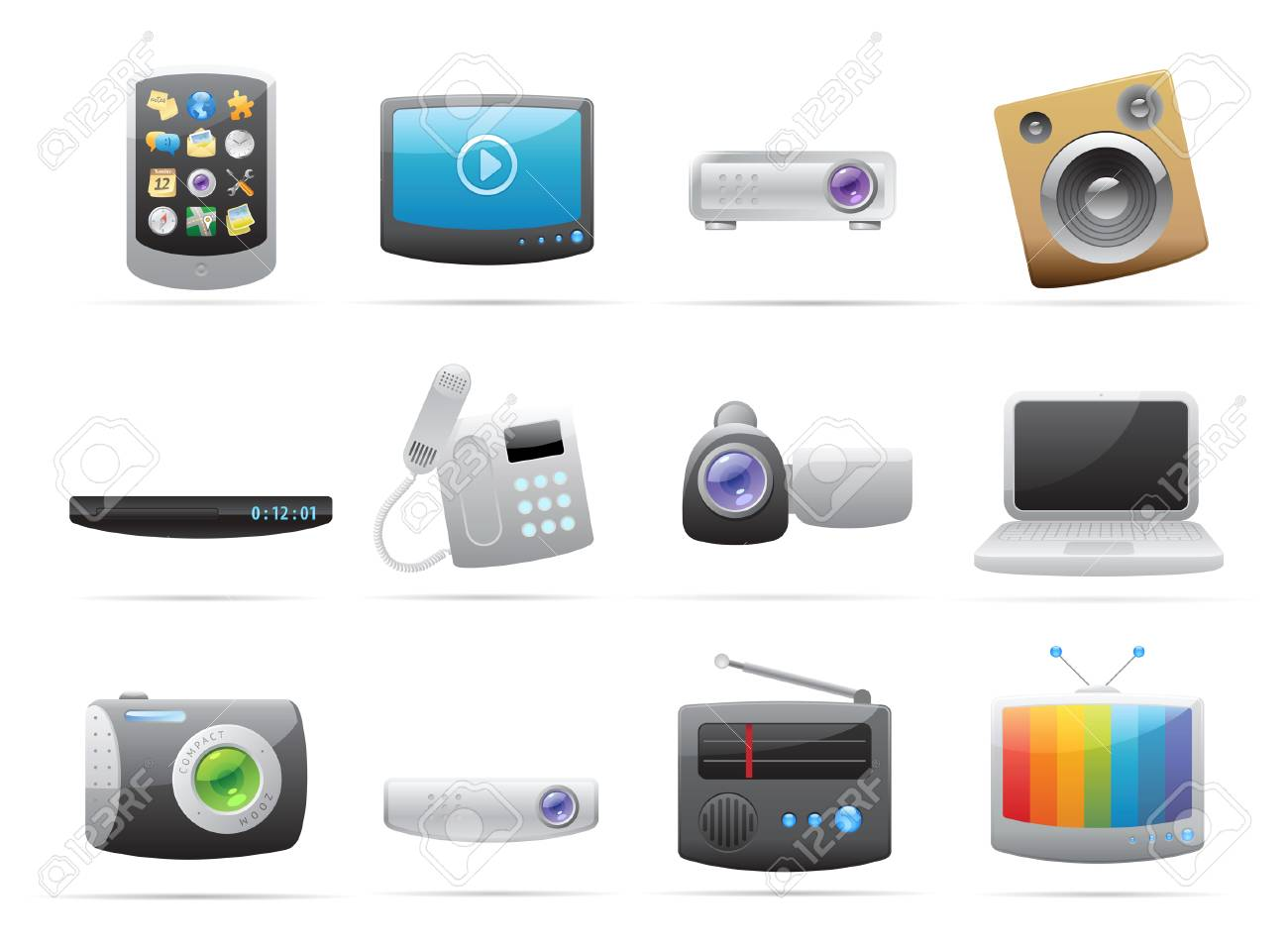 Icons for devices. Vector illustration. Stock Vector - 8622079