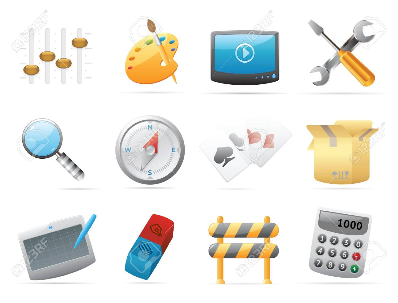 Icons for computer and website interface. Vector illustration. Stock Vector - 10893056