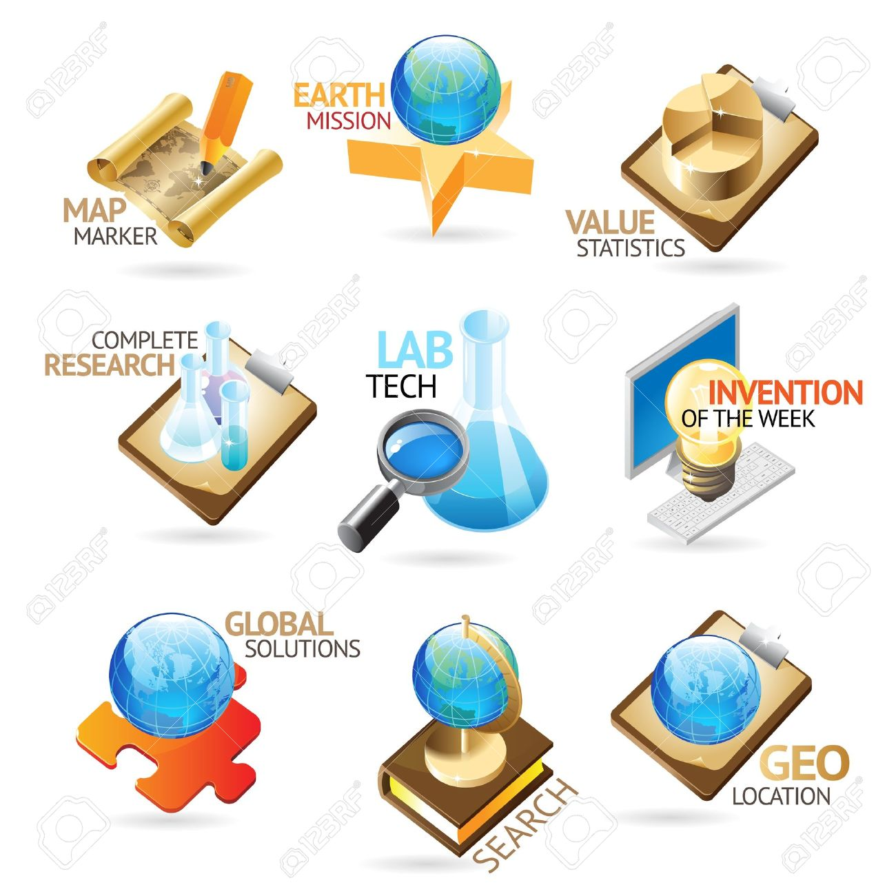 Science and technology icons. Heading concepts for document, article or website. Vector illustration. Stock Vector - 10893085