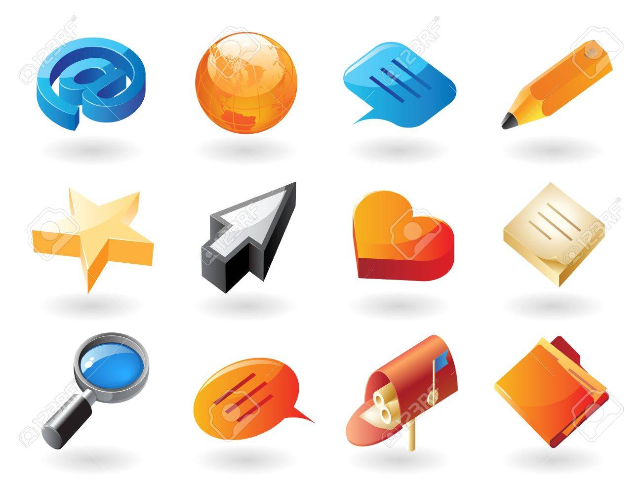High detailed realistic vector icons for conversation and website interface Stock Vector - 10893066
