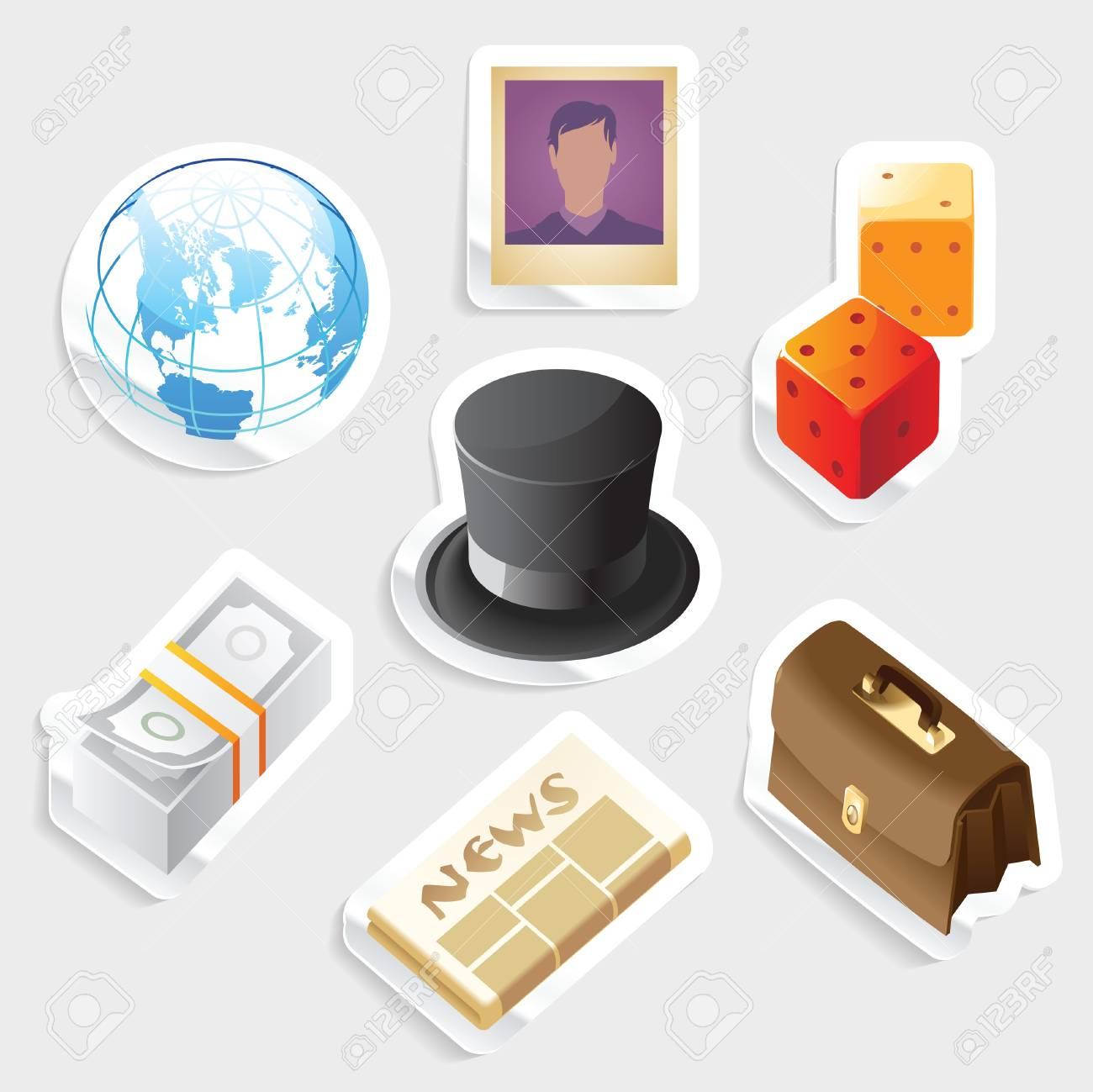 Sticker icon set for global business.  Vector illustration. Stock Vector - 11017275