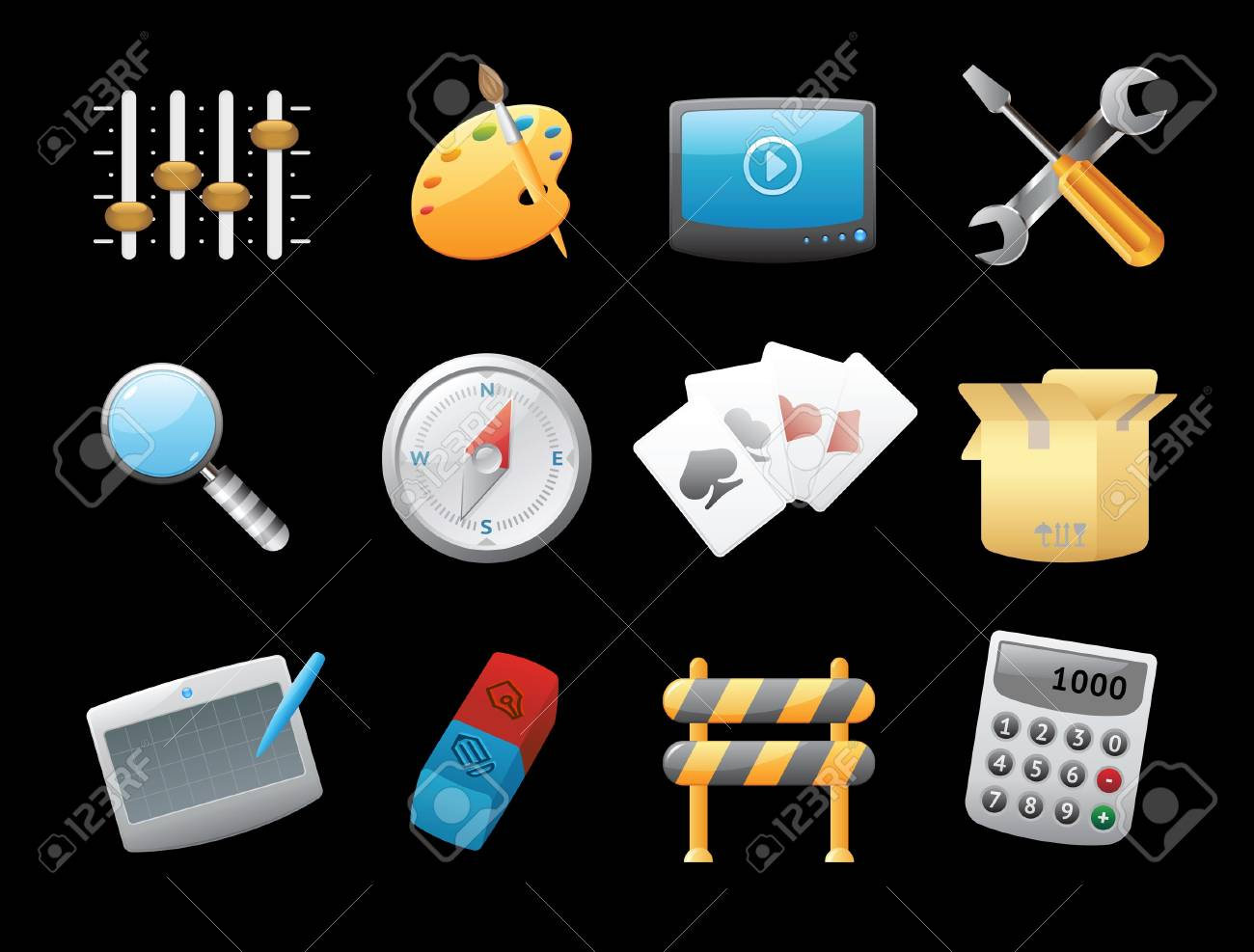 Icons for computer and website interface. Vector illustration. Stock Vector - 11106426