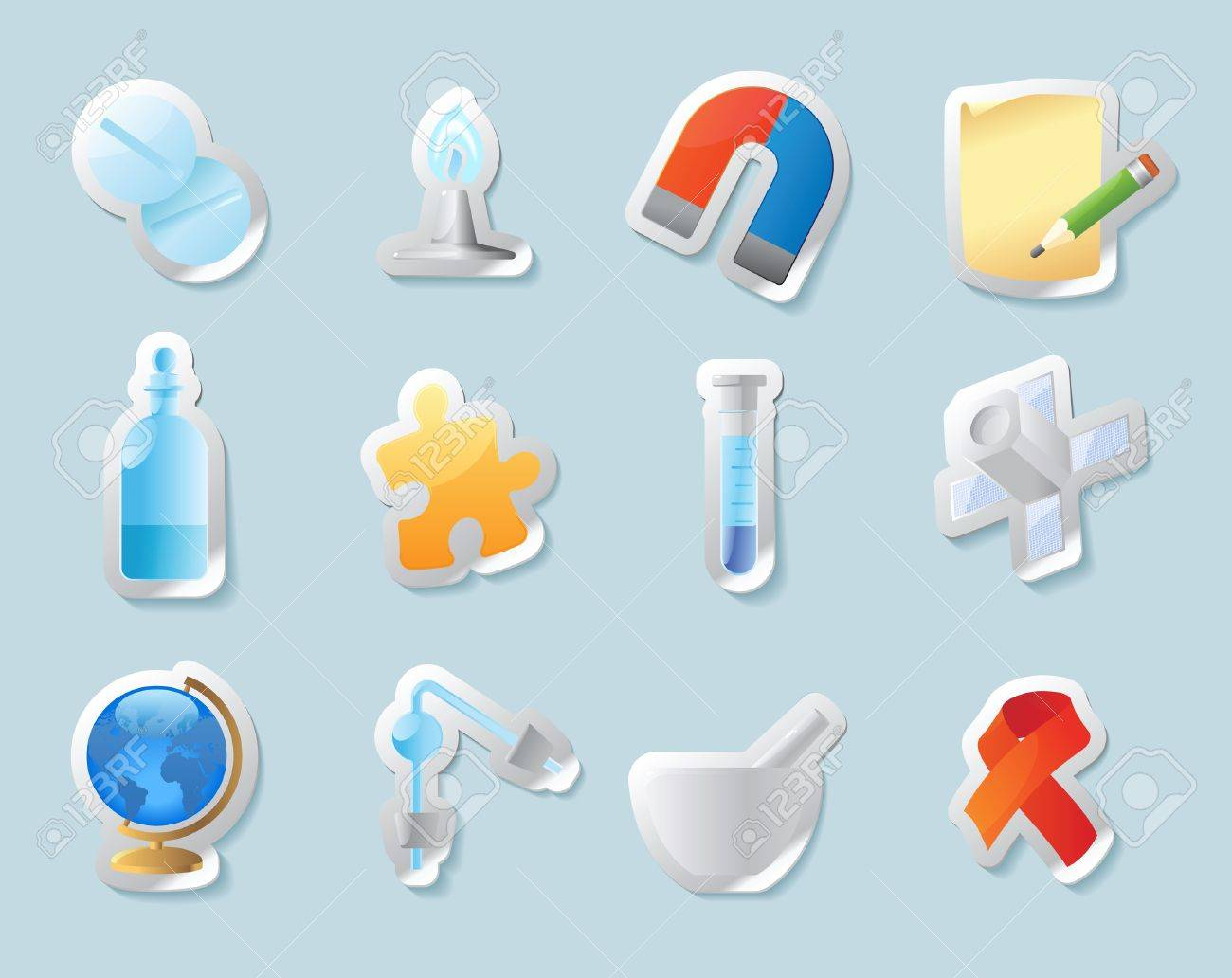 Sticker button set. Icons for science, medicine and education. Vector illustration. Stock Vector - 11106445